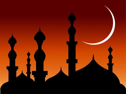 Abstract Background Mosques With Silhouette Clip Arts