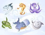 annimals,bubble,character,dolphin,icon,jellyfish,octopus,realistic,sea,sea horse,squid,turtle,water,whale