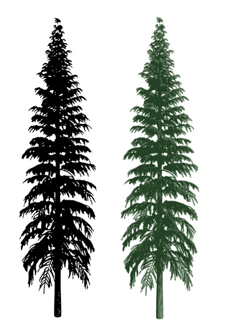 Bare Christmas Tree Clipart.Sillhouette And Realistic Tree Clipart Graphic Free