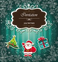 abstract,background,card,claus,gift,green,greeting,invitation,santa,season,snowflake,tree