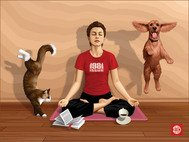 animal,book,cat,dog,floor,girl,glass,illustration,meditation,realistic,wall,woman