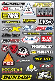 ams oil,applied,bbr motor sport,brand,bridgestone,dunlop,dvs,engine ice,fasst company,logo,motion pro,motorex,no-toil,pro honda,promoto,ready filter,rg3,rockstar,sidi,sign,sponsor house,stocker,symbol,universal