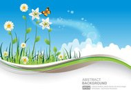 background,banner,blue,cloud,floral,flower,grass,green,holiday,illustration,landscape,leaf,nature,sky,swirl,template,wind