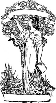 tree,knowledge,woman,book,fruit,book plate,art nouveau