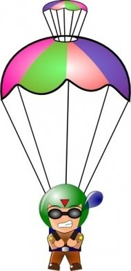 falling,paratrooper,chibi,anime,manga,cartoon,parachute,chute,media,clip art,public domain,image,png,svg