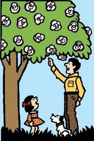 father,daughter,under,tree,clip