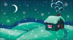 cartoon,snow,moonlight