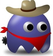 pcman,game,baddie,cowboy,arcade,funny,adventure,western,wild west,media,clip art,public domain,image,png,svg