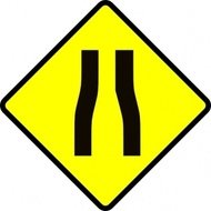 caution,road,narrow,roadsign,sign