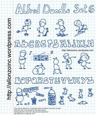alfred,doodle,set,skate,boarder,allonzo,inc,cute