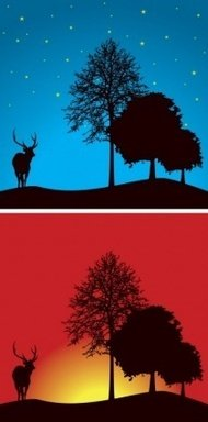 tree,landscape,deer,animal,nature,night,dusk,afternoon,sunset,mountain,scene,scenery,tree,mountain