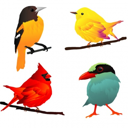 4 beautiful birds clip arts clip art. Black Bedroom Furniture Sets. Home Design Ideas
