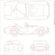 shelby,cobra,blueprint,transportation,vehicle,car,scheme,diagram,technical drawing,contour,outline,monochrome,red