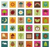 naturaleza,icono,brillante,color,bellota,ave,cereza,chick,infantil,nube