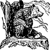 bear,stump,animal,mammal,media,clip art,externalsource,public domain,image,png,svg