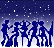 disco,dancer,party,dancing,seventies,music,silhouette,blue,night,star,star