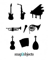 musical,instrument,silhouette,collection,music