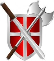 sword,battleaxe,shield