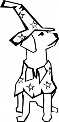simple,drawing,manimal,dog,mammal,pet,colouring book,costume,wizard