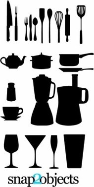 kitchen,appliance,silhouette,collection,ware,pot,teacup,galss,wine,glass,knife,steak,knifepans,blender,spoon,fork.