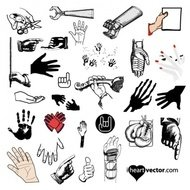 hand,different,work,button,hand vector,people