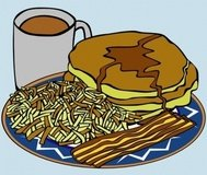 pancake,syrup,coffee,bacon,hashbrown