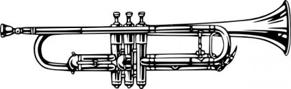 cornet,music,musical instrument,brass instrument,trumpet,line out,black and white,contour,outline,media,clip art,externalsource,public domain,image,png,svg,wikimedia common,psf,wikimedia common