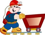 coal,miner,pushing,cart,mascot,cartoon