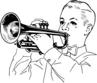 playing,cornet,people,boy,music,musical instrument,brass instrument,line art,black and white,contour,outline,media,clip art,externalsource,public domain,image,png,svg,wikimedia common,psf,wikimedia common