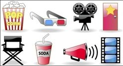 movie,ticket,popcorn,glasses,camera,icon