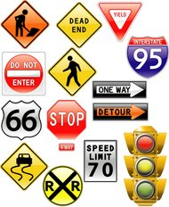 road,sign,amp,traffic,light,stop,arrow,pedestrian,sign,arrow