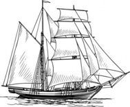 brigantine,maritime,sailing,ship,sailship,drawing,line art,black and white,contour,outline,media,clip art,externalsource,public domain,image,png,svg,wikimedia common,psf,wikimedia common
