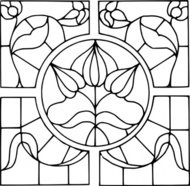 stained,glass,motif,nature,plant,flower,geometric,line art,stained glass,coloring book