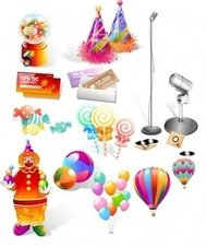candy,coupon,balloon,pierrot,microphone