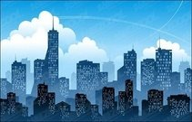 blue,city,silhouette,vector