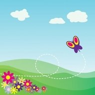 cartoon,hillside,butterfly,flower,animal,hill,scenery