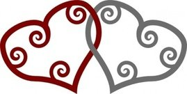 silver,maori,heart,interlinked,remix,red,valentine,clip art,media,public domain,image,svg