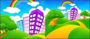 city,green,hill,rainbow,cartoon,landscape,material