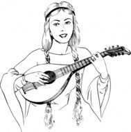 woman,playing,lute,people,medieval,music,musical instrument,string instrument,line art,black and white,contour,outline,media,clip art,externalsource,public domain,image,png,svg,wikimedia common,psf,wikimedia common