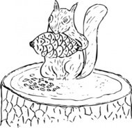 squirrel,eating,pine,cone,animal,forest,stump,tree