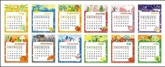 lovely,calendar,template,vector,material