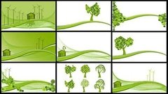 wind,power,reduce,emission,tree,hillside,vector