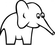 cartoon,outline,elephant,clip