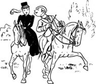 couple,riding,horse,rider,love,kiss,joke,black & white,contour,outline,externalsource,wikimedia common,wikimedia common