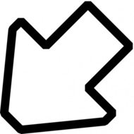 left,down,outline,arrow,icon,black & white,pixel,cartoon