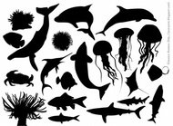 sea,material,element,marine,life,picture,animal,_animals,dolphin,fish,nature,plant,sea creature,silhouette,underwater,water