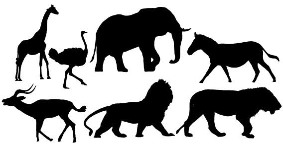 African Animals Silhouettes Free Vector Clip Arts Art