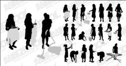 woman,action,figure,housework,silhouette,vector,material