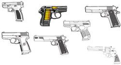 object,set,weapon,gun,military,related,pistol,material,of,45,caliber,9mm,ammo,ammunition