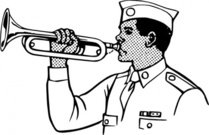 young,playing,bugle,people,man,boy,scout,music,musical instrument,brass instrument,line art,black and white,contour,outline